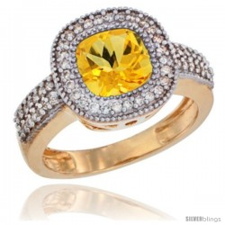 14k Yellow Gold Ladies Natural Citrine Ring Cushion-cut 3.5 ct. 7x7 Stone Diamond Accent