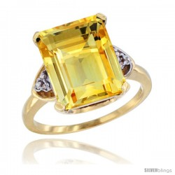 14k Yellow Gold Ladies Natural Citrine Ring Emerald-shape 12x10 Stone Diamond Accent