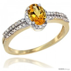 14k Yellow Gold Ladies Natural Citrine Ring oval 6x4 Stone Diamond Accent -Style Cy409178