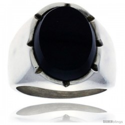 Gent's Sterling Silver Large Oval Black Obsidian Ring