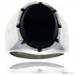Gent's Sterling Silver Large Oval Black Obsidian Ring