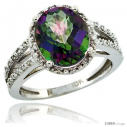 10k White Gold Diamond Halo Mystic Topaz Ring 2.85 Carat Oval Shape 11X9 mm, 7/16 in (11mm) wide