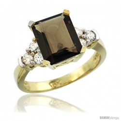 10k Yellow Gold Ladies Natural Smoky Topaz Ring Emerald-shape 9x7 Stone