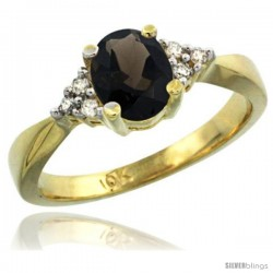 10k Yellow Gold Ladies Natural Smoky Topaz Ring oval 7x5 Stone -Style Cy907168