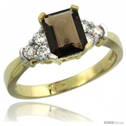 10k Yellow Gold Ladies Natural Smoky Topaz Ring Emerald-shape 7x5 Stone