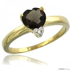 10K Yellow Gold Natural Smoky Topaz Heart-shape 7x7 Stone Diamond Accent