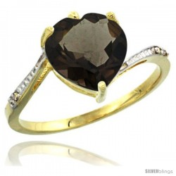 10k Yellow Gold Ladies Natural Smoky Topaz Ring Heart-shape 9x9 Stone