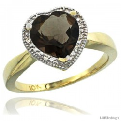 10k Yellow Gold Ladies Natural Smoky Topaz Ring Heart-shape 8x8 Stone