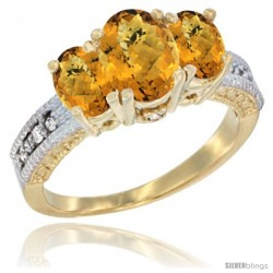 10K Yellow Gold Ladies Oval Natural Whisky Quartz 3-Stone Ring Diamond Accent