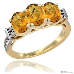 10K Yellow Gold Natural Whisky Quartz Ring 3-Stone Oval 7x5 mm Diamond Accent
