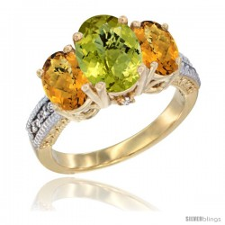 10K Yellow Gold Ladies 3-Stone Oval Natural Lemon Quartz Ring with Whisky Quartz Sides Diamond Accent