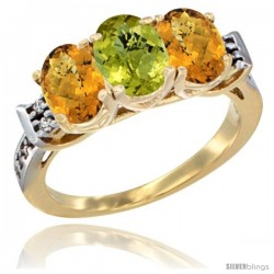 10K Yellow Gold Natural Lemon Quartz & Whisky Quartz Sides Ring 3-Stone Oval 7x5 mm Diamond Accent