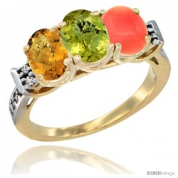 10K Yellow Gold Natural Whisky Quartz, Lemon Quartz & Coral Ring 3-Stone Oval 7x5 mm Diamond Accent