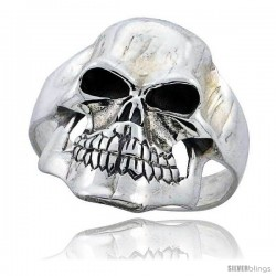 Sterling Silver Gothic Biker Skull Ring 1 1/16 in wide