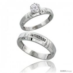 10k White Gold Diamond Engagement Rings 2-Piece Set for Men and Women 0.08 cttw Brilliant Cut, 4mm & 5.5mm wide -Style Ljw023em