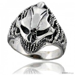 Sterling Silver Gothic Biker Skull Ring 1 in wide -Style Tr742