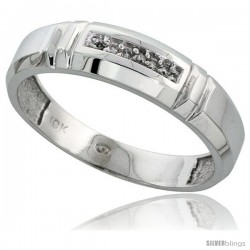 10k White Gold Mens Diamond Wedding Band Ring 0.03 cttw Brilliant Cut, 7/32 in wide -Style Ljw023mb