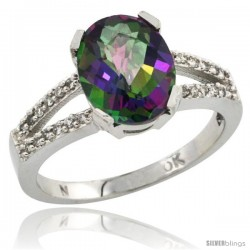 10k White Gold and Diamond Halo Mystic Topaz Ring 2.4 carat Oval shape 10X8 mm, 3/8 in (10mm) wide