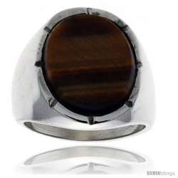Gent's Sterling Silver Large Oval Tiger Eye Ring
