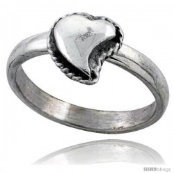Sterling Silver Movable Heart Ring 1/2 in wide -Style Tr738