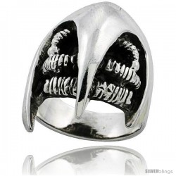 Sterling Silver Beak Gothic Biker Ring 1 1/4 in wide