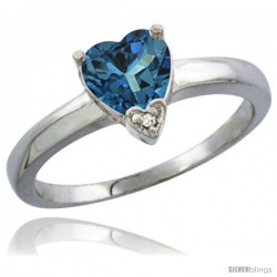 14K White Gold Natural London Blue Topaz Heart-shape 7x7 Stone Diamond Accent
