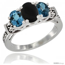 14K White Gold Natural Black Onyx & London Blue Ring 3-Stone Oval with Diamond Accent