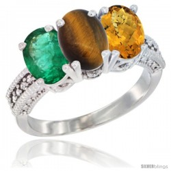 14K White Gold Natural Emerald, Tiger Eye & Whisky Quartz Ring 3-Stone 7x5 mm Oval Diamond Accent