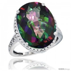 10k White Gold Diamond Mystic Topaz Ring 13.56 Carat Oval Shape 18x13 mm, 3/4 in (20mm) wide
