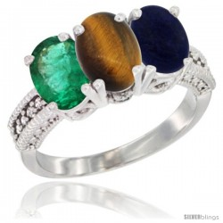 14K White Gold Natural Emerald, Tiger Eye & Lapis Ring 3-Stone 7x5 mm Oval Diamond Accent