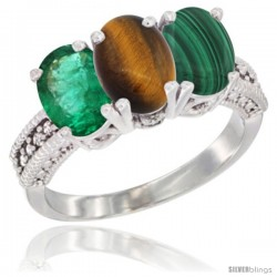 14K White Gold Natural Emerald, Tiger Eye & Malachite Ring 3-Stone 7x5 mm Oval Diamond Accent