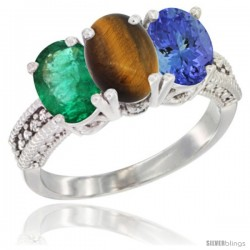 14K White Gold Natural Emerald, Tiger Eye & Tanzanite Ring 3-Stone 7x5 mm Oval Diamond Accent