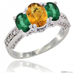 14k White Gold Ladies Oval Natural Whisky Quartz 3-Stone Ring with Emerald Sides Diamond Accent
