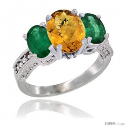 14K White Gold Ladies 3-Stone Oval Natural Whisky Quartz Ring with Emerald Sides Diamond Accent