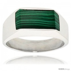 Gent's Sterling Silver Slim Rectangular Malachite Ring