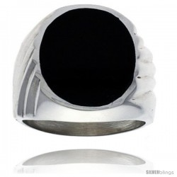 Gent's Sterling Silver Large Oval Black Obsidian Ring -Style Xrs428