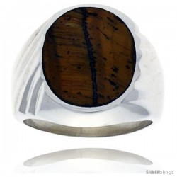 Gent's Sterling Silver Large Oval Tiger Eye Ring -Style Xrs429