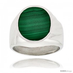 Gent's Sterling Silver Large Oval Malachite Ring -Style Xrs430