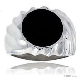 Gent's Sterling Silver Round Black Obsidian Ring