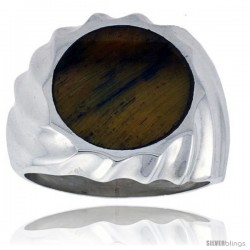 Gent's Sterling Silver Round Tiger Eye Ring