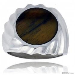Gent's Sterling Silver Round Tiger Eye Ring