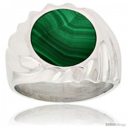 Gent's Sterling Silver Round Malachite Ring