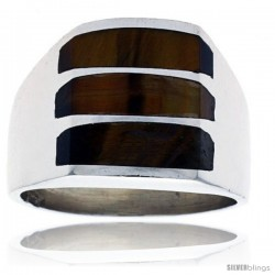 Gent's Sterling Silver Triple Stripes Tiger Eye Ring