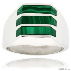 Gent's Sterling Silver Triple Stripes Malachite Ring