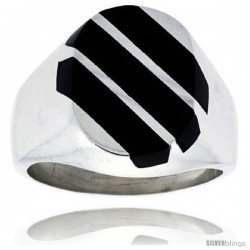 Gent's Sterling Silver Triple Diagonal Stripes Black Obsidian Ring