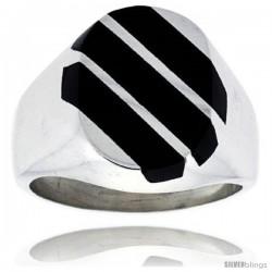 Gent's Sterling Silver Triple Diagonal Stripes Black Obsidian Ring