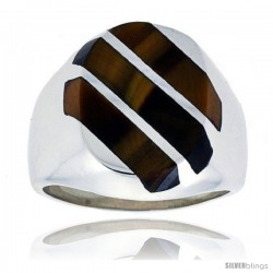 Gent's Sterling Silver Triple Diagonal Stripes Tiger Eye Ring