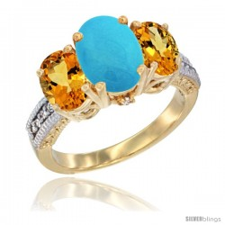 14K Yellow Gold Ladies 3-Stone Oval Natural Turquoise Ring with Citrine Sides Diamond Accent