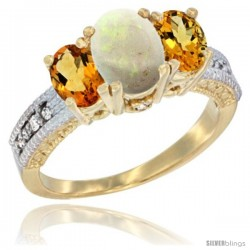 14k Yellow Gold Ladies Oval Natural Opal 3-Stone Ring with Citrine Sides Diamond Accent