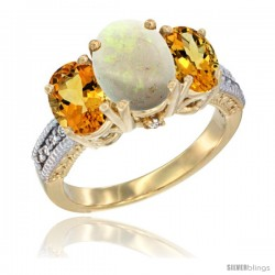 14K Yellow Gold Ladies 3-Stone Oval Natural Opal Ring with Citrine Sides Diamond Accent